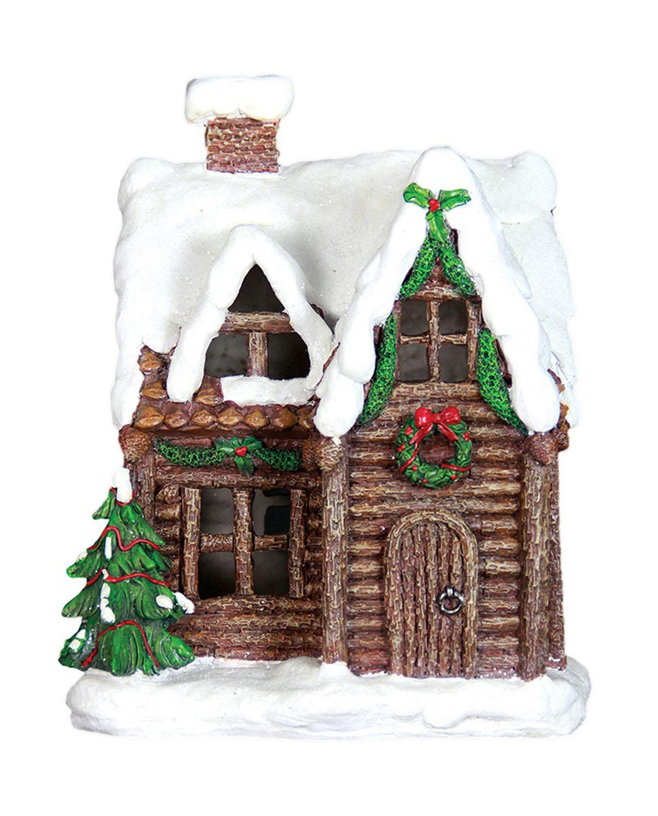 Christmas Decorations Santa Clarita Ca: LED Light Up Log Cabin Christmas Holiday Village Cottage