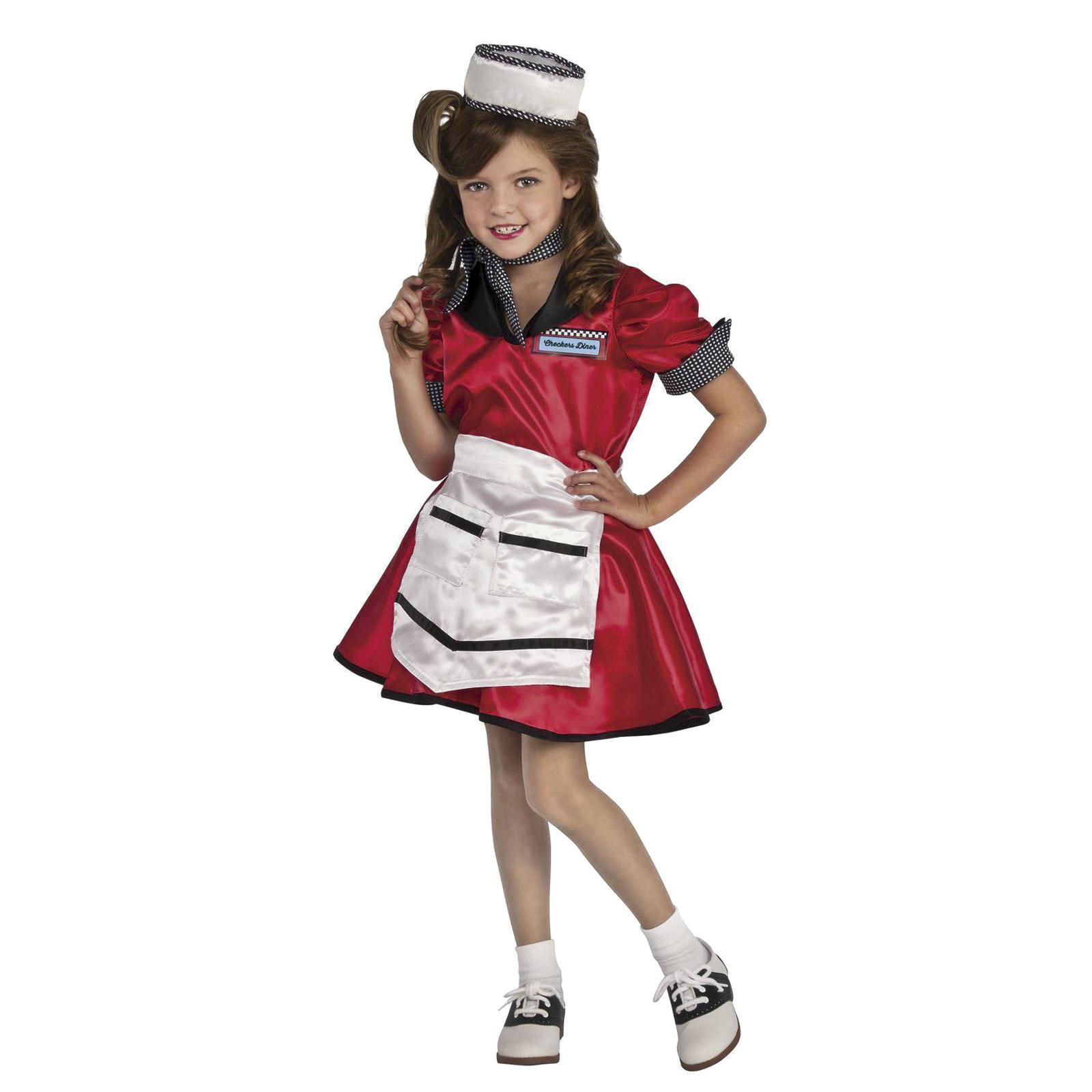 Christmas Decorations Santa Clarita Ca: Child Girl's Retro Diner 1950's Waitress Red Halloween