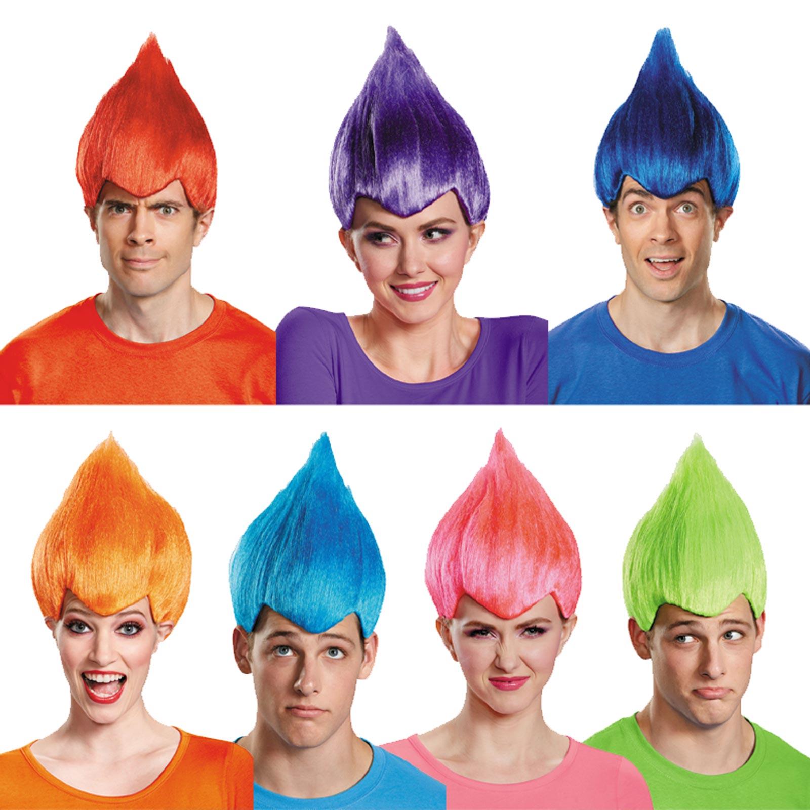 Trolls Wig Adult Costume Men Women Movie Blue Pink Green Orange Red